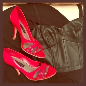 Steven hot red cut out peep toe heels in size 8.5